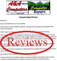 A&A Bridgnorth Computer Repair Customer Letters, Reviews
