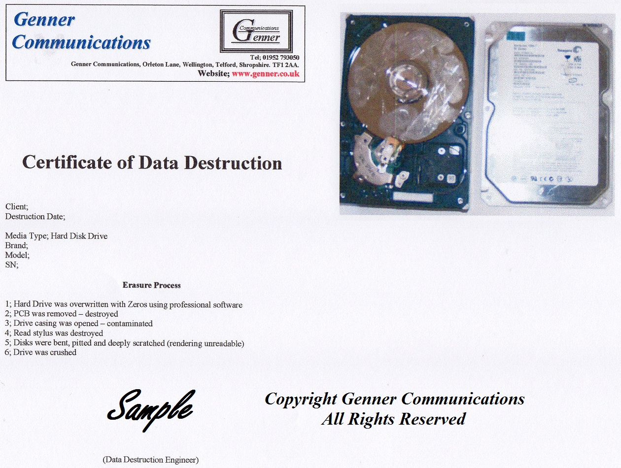 hard drive certificate of destruction template - shropshire data destruction confidential data destruction